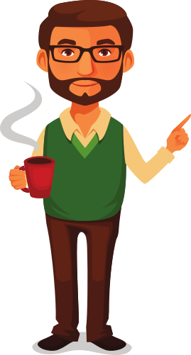Coffee guy pointing